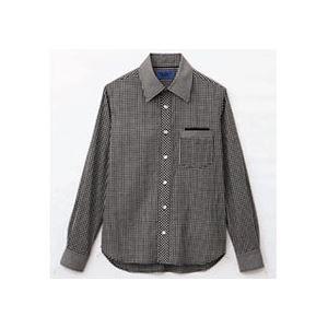 (まとめ) セロリー 大柄ギンガムチェック長袖シャツ Lサイズ ブラック S-63410-L 1枚 【×2セット】