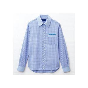 (まとめ) セロリー 大柄ギンガムチェック長袖シャツ Lサイズ サックス S-63412-L 1枚 【×2セット】