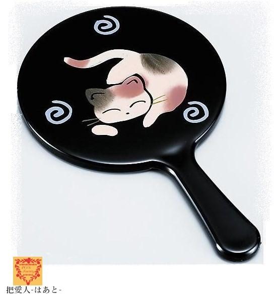 姫 手鏡 黒【ねむり猫】漆器タイプ(手描)会津若松伝統工芸 ミラー