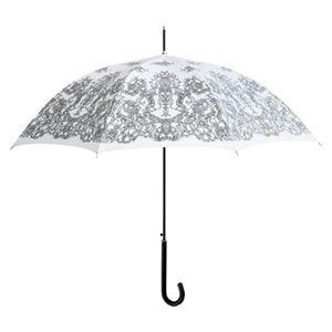 レースプリントワンタッチ傘 ホワイト