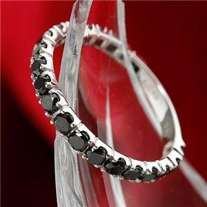 K18WG 1ctブラックダイヤリング 指輪 エタニティリング 9号