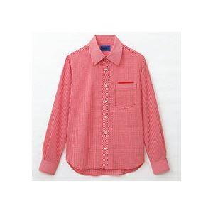 (まとめ) セロリー 大柄ギンガムチェック長袖シャツ Mサイズ レッド S-63413-M 1枚  【×5セット】