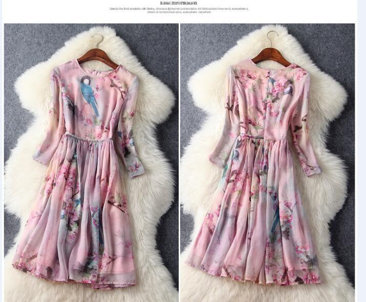 春新品 レディース ワンピース ドレス 大きいサイズ 7分袖 高級感あり ワンピ M
