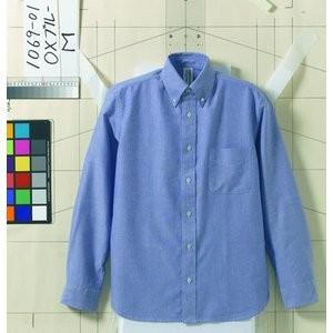 オックスフォードボタンダウンワンウォッシュ長袖シャツ O X ブルー 《Lサイズ》