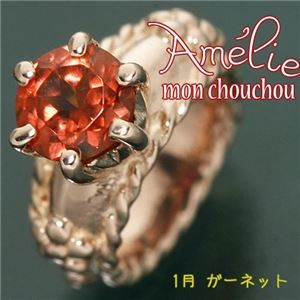 amelie mon chouchou Priere K18PG 誕生石ベビーリングネックレス (1月)ガーネット