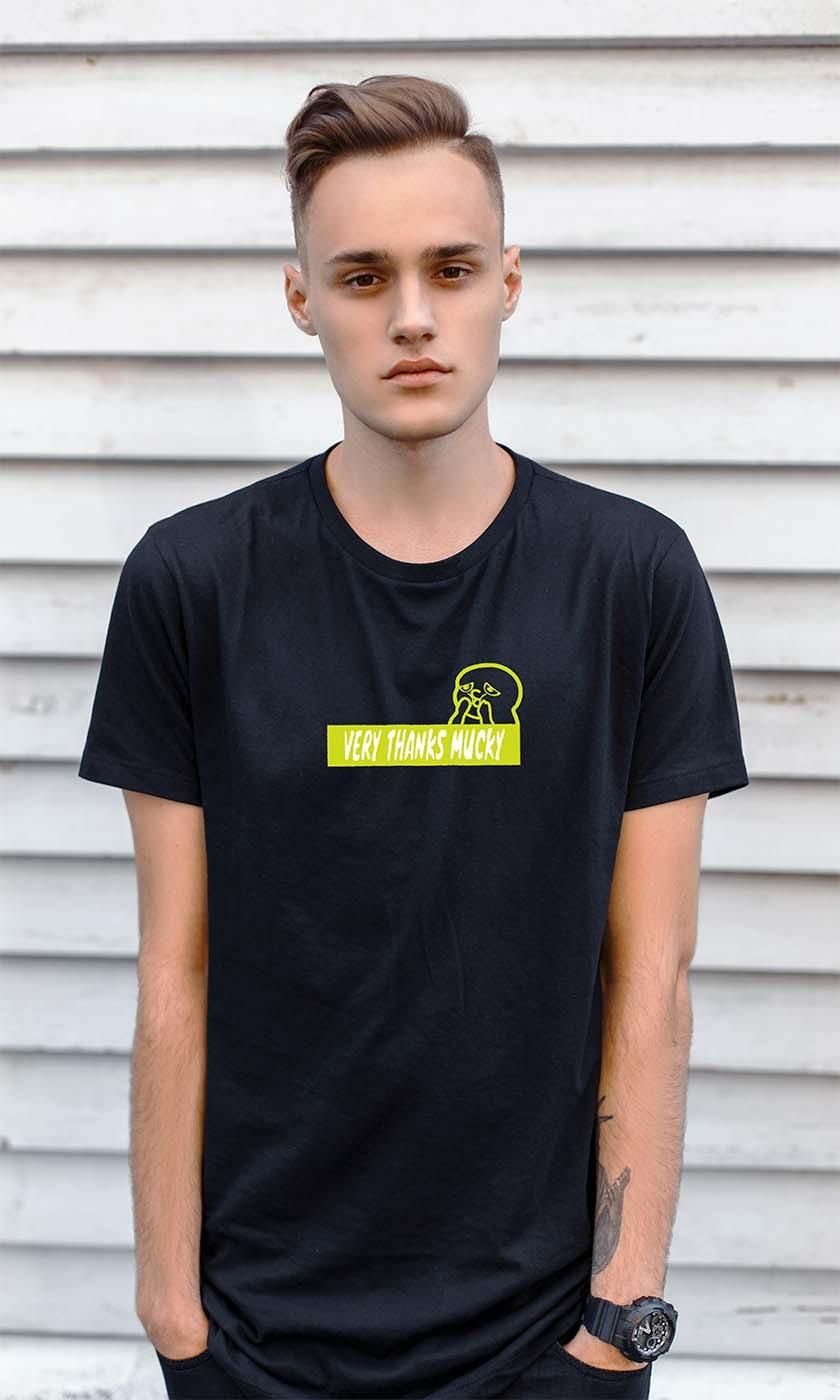 VERY THANKS MUCKY  BOXロゴTshirt  black/neonyellow:size[S]