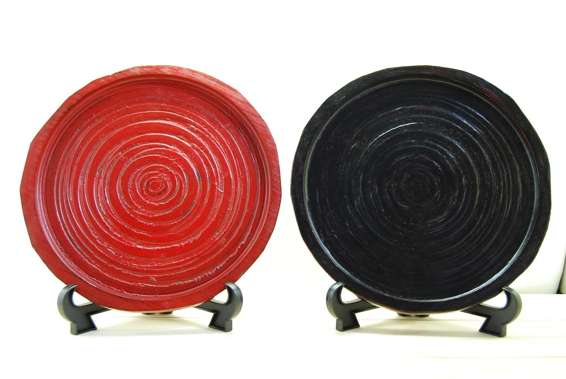 尺〇荒挽丸盆(越前漆器)
