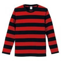 【訳あり・在庫処分】ボールドボーダーロングスリーブTシャツ CB5519 ブラック&レッド   M