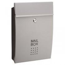 郵便受け/メールボックス 【シルバー】 幅260mm 重さ1.8kg 鍵×2本付き スチール製 〔玄関 エントランス〕