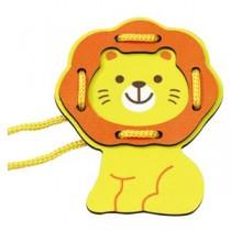 (まとめ)木製ひもとおし ライオン 【×10個セット】