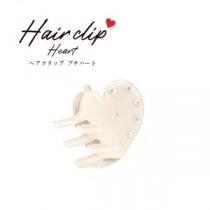 【5個セット】ヘアクリップ プチハート(ホワイト)