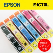 EPSONプリンター互換インク 箱なしバルク品 インク残量ICチップ搭載!6色セット!E-IC70L EP-306 EP-706A EP-755A EP-755AW EP-776A EP-905A EP-905F EP-906F EP-976A3 EP-805A EP-805AW EP-805AR EP-806AB EP-806AW EP-806AR等