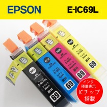 EPSONプリンター互換インク 箱なしバルク品 インク残量ICチップ搭載!4色セット!E-69L/ PX-405A PX-045A PX-046A PX-435A PX-436A PX-505F PX-535F PX-105等