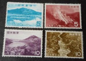 ☆第2次国立公園シリーズ1962年日光4種4枚未使用